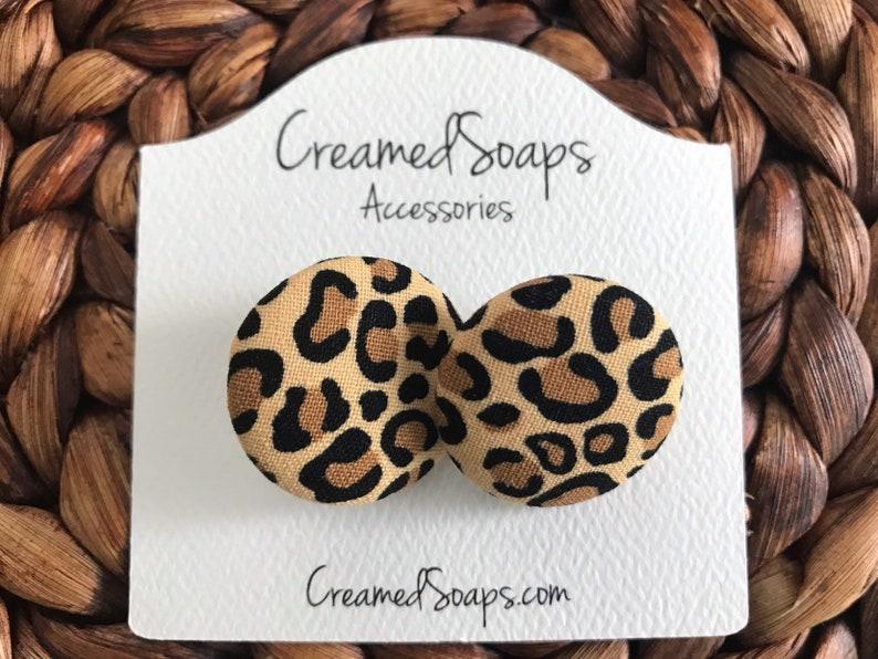 Large Leopard Fabric Earrings