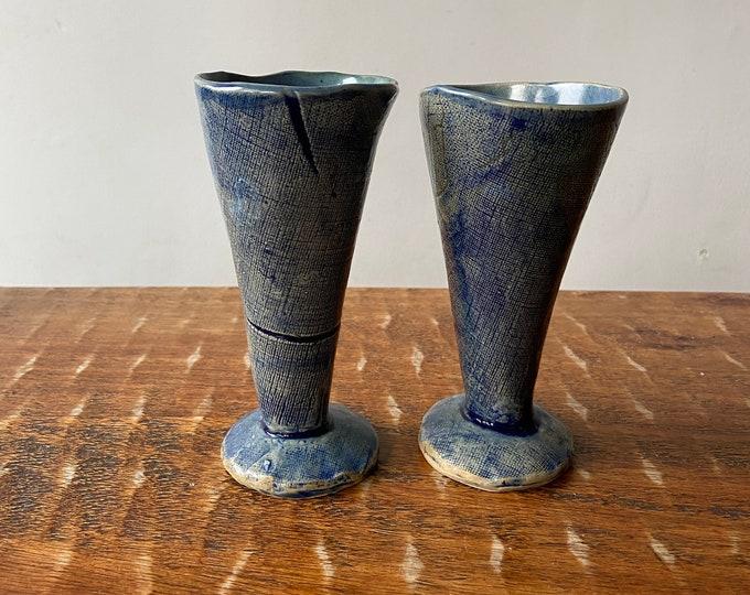 Pair of ceramic handbuilt goblets