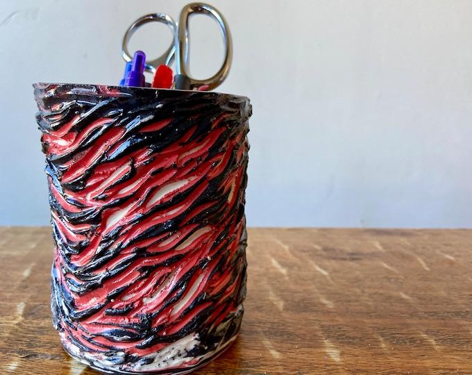 Agateware Colored Porcelain Pencil Holder