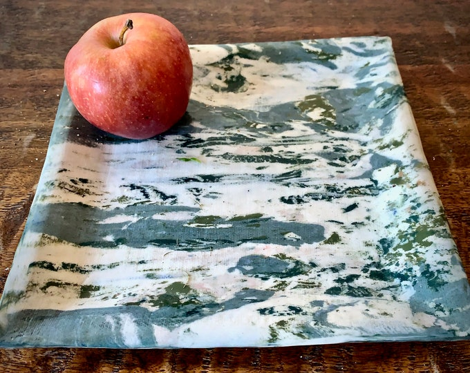 Square Agateware Green Porcelain Plate