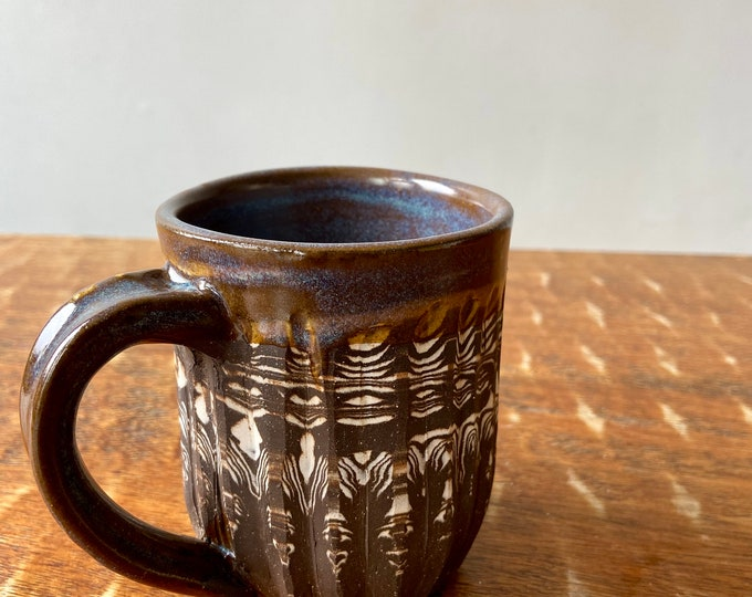 Agateware Carved Mug