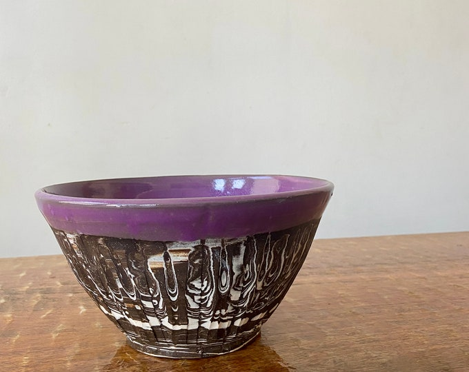 Agateware Carved Purple Bowl