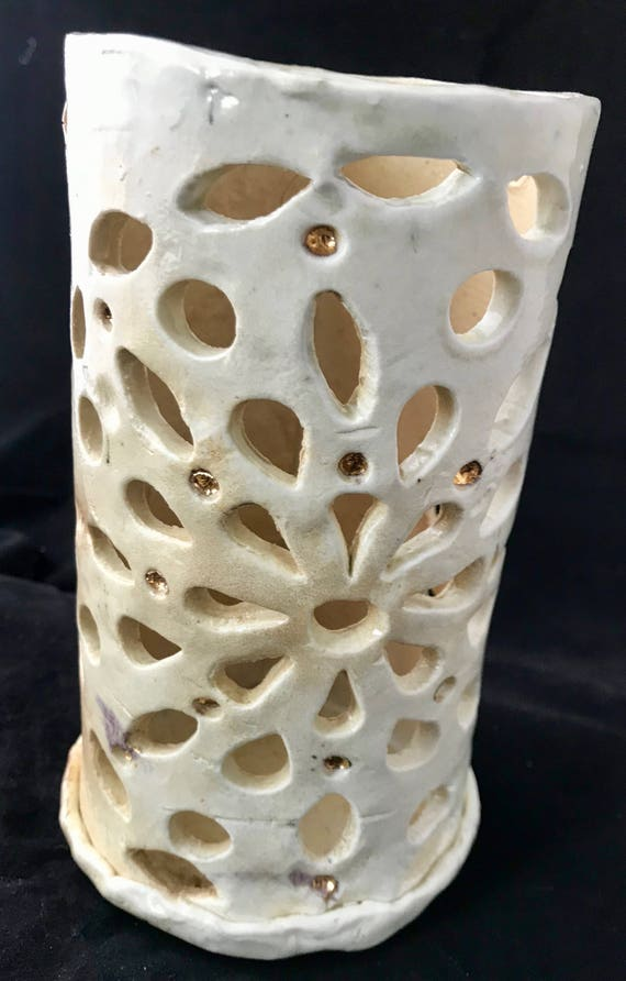 Salt Fired Ceramic Lantern w gold luster