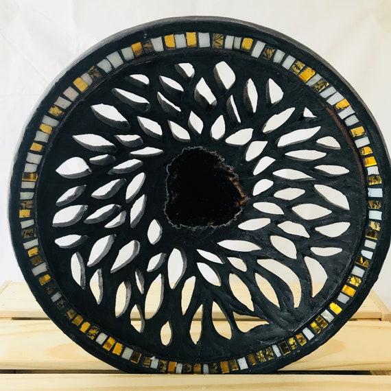 Carved Ceramic Mosaic Bowl