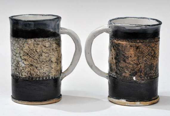 One Salt Fired Ceramic Mugs
