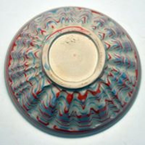 Orange and Blue Agateware Bowl