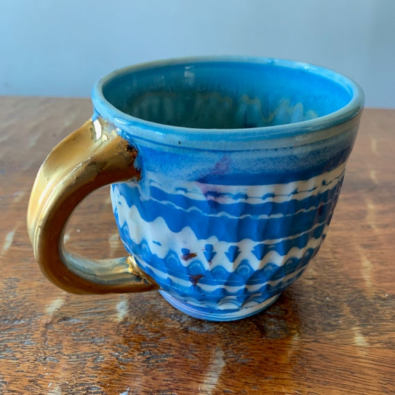 Swirled, Carved,  Colored Porcelain Mug