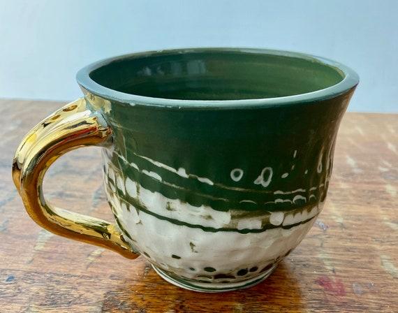 Swirled Colored Porcelain Mug with Gold Handle