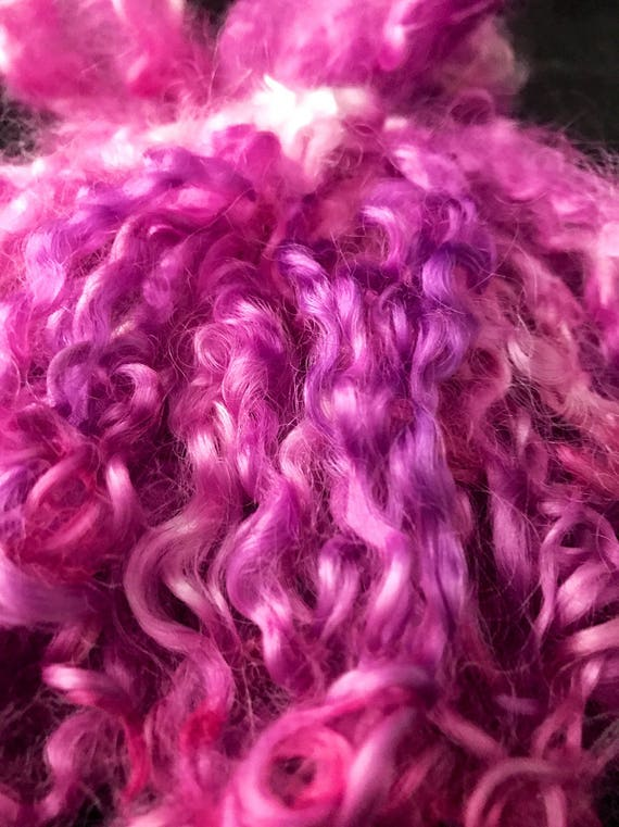 "Long dyed Wensleydale locks ""pink carnations"""