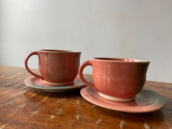Pair of Ceramic Teacup and Saucers