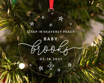 Baby Memorial Ornament, Infant Loss Memorial, Miscarriage, Stillborn, Remembrance Gift, In Loving Memory Ornament, Personalized Memorial