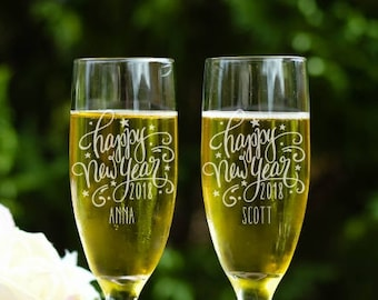 Happy New Year 2018 Champagne Flutes, Toasting Flutes, Customized New Year Glasses, New Years Eve Decorations, Personalized Toasting Flutes
