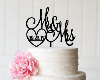 Custom Wedding Cake Topper Mr and Mrs Cake Topper with Heart and Wedding Date