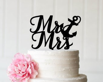 Wedding Cake Topper, Anchor Cake Topper, Mr and Mrs Cake Topper, Beach Wedding Cake Topper, Nautical Wedding Cake Topper, Navy Cake Topper