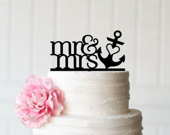 Anchor Wedding Cake Topper, Mr and Mrs Wedding Cake Topper, Nautical Beach Cake Topper, Cake Topper for Beach Wedding, Anchor Topper