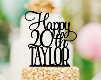 20th Birthday Cake Topper, Happy 20th Cake Topper, Personalized Birthday Cake Topper, 20th Birthday Decorations, Happy 20th Birthday