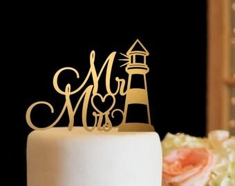 Mr & Mrs Wedding Cake Topper - Lighthouse Cake Topper - Gold Cake Topper