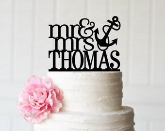 Wedding Cake Topper, Anchor Wedding Cake Topper, Mr and Mrs Wedding Cake Topper, Beach Wedding Cake Topper, Nautical Wedding Cake Topper