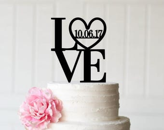 Love Wedding Cake Topper - Love with Wedding Date Cake Topper - LOVE Cake Topper