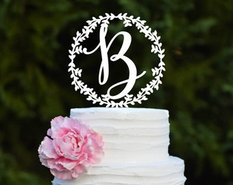 Wedding Cake Topper Personalized with Initial Rustic Wedding Cake Topper