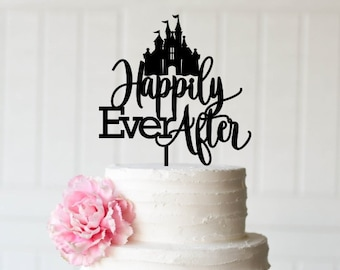 Cinderella Cake Topper - Wedding Cake Topper - Happily Ever After Cake Topper with Castle