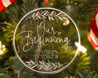 Personalized Christmas Ornament, Our First Christmas Ornament Personalized, Christmas Gift for Newlyweds, Coordinates Christmas Ornament