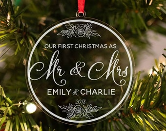 personalized christmas ornament our first christmas ornament personalized newlywed ornament christmas gift for newlyweds 2018 ornament