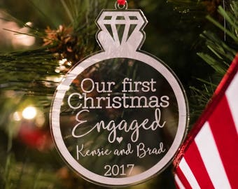 our first christmas engaged ornament personalized personalized christmas ornament engagement ornament christmas gift for engaged couple