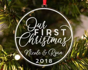 our first christmas ornament personalized christmas ornament newlywed ornament couples ornament gift for newlyweds 2018 ornament