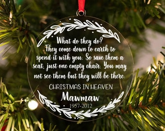 christmas in heaven ornament remembrance ornament personalized ornament sympathy gift in loving memory ornament memorial ornament