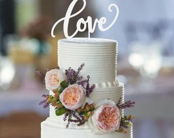 Love Wedding Cake Topper, Custom Wedding Cake Topper, Bridal Shower Cake Topper, Engagement Party Topper, Simple Love Wedding Cake Topper