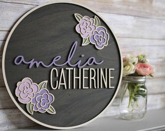 Personalized Name Wood Sign, Round Personalized Baby Name Sign, Custom Name Nursery Sign, Kids Name Sign, Wooden Personalized Name Sign