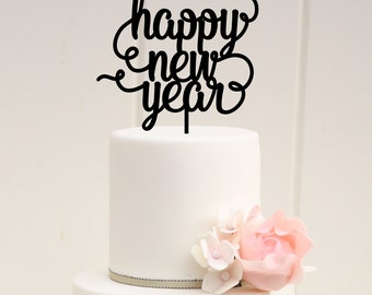 New Years Party Decor, Happy New Year Cake Topper, Happy New Year Decorations, New Years Eve Party Decorations, New Years Wedding Cake