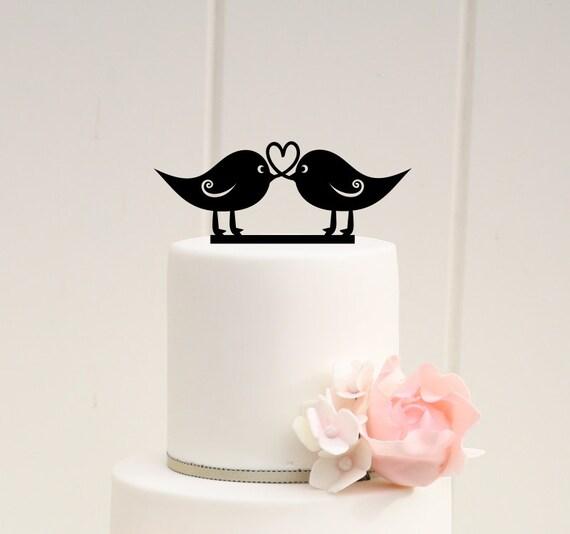 Amour Oiseaux Wedding Cake Topper Coeur Design Rustique Cake Topper