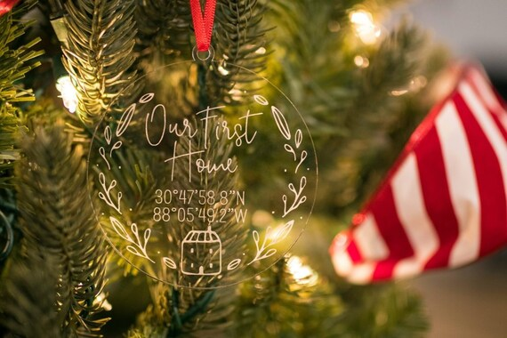 Our First Home Christmas Ornament.Our First Home Christmas Ornament Personalized Christmas Ornament First Home Ornament Housewarming Gift Coordinates Ornament