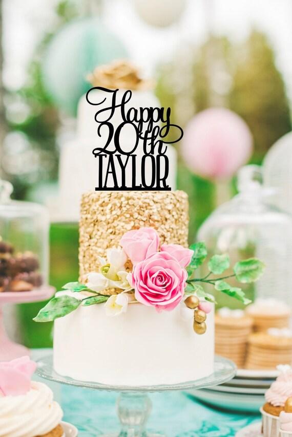 20th Birthday Cake Topper Happy
