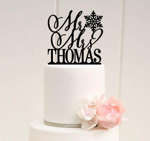 Snowflake Wedding Cake Topper Mr and Mrs Cake Topper Winter | Etsy