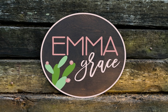 Personalized Name Wood Sign Round Personalized Baby Name Etsy