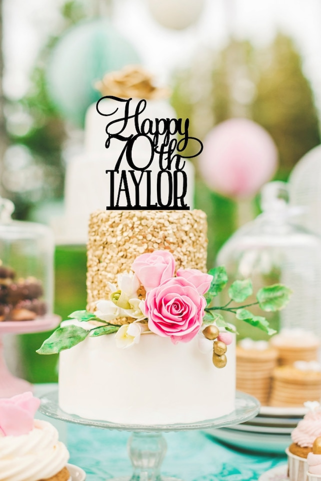 70th Birthday Cake Topper Happy Decorations For Personalized