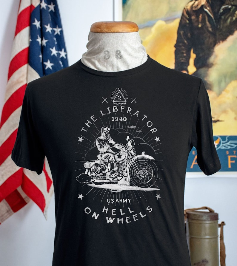 Vintage Style Us Army Ww2 T Shirt Military Motorcycle Etsy