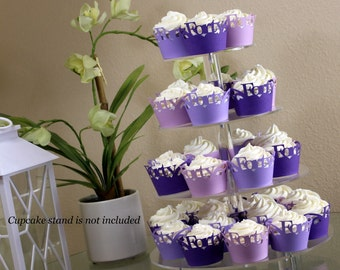 Purple Ombre Forty Cupcake Wrappers Kit, 32pcs