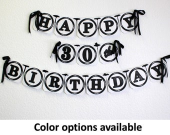 Happy 30th Birthday Banner, 1pc, Birthday Decoration, Custom Banner