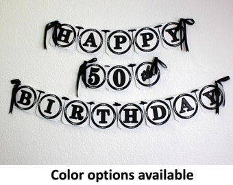 Happy 50th Birthday Banner, 1pc, Birthday Decoration, Custom Banner