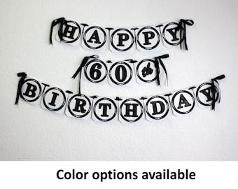 Happy 60th Birthday Banner, 1pc, Birthday Decoration, Custom Banner