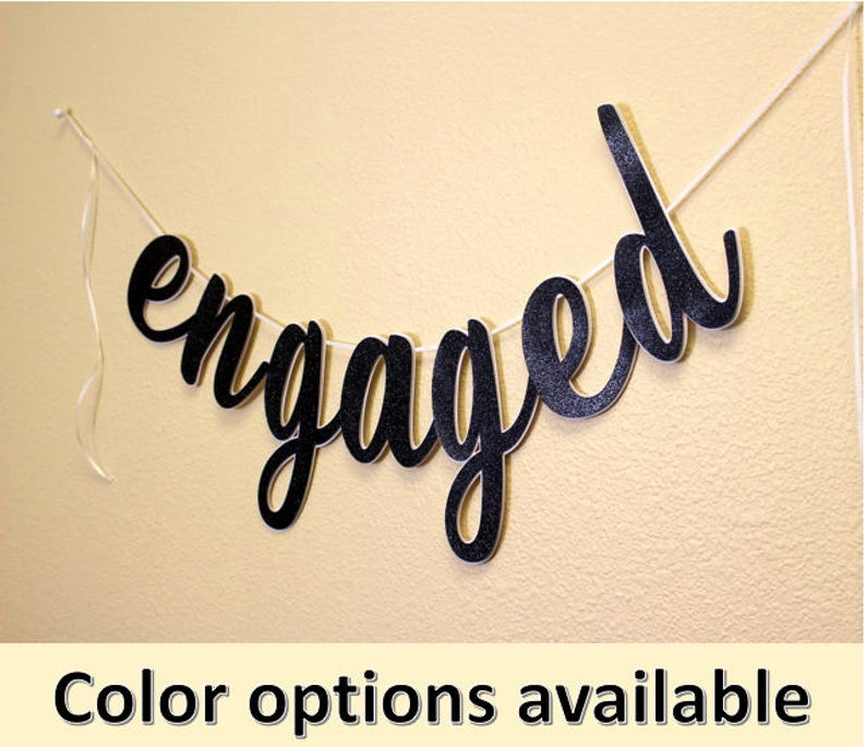 Special Occasions Banner Engaged Cursive Banner 1 set Engagement Glitter