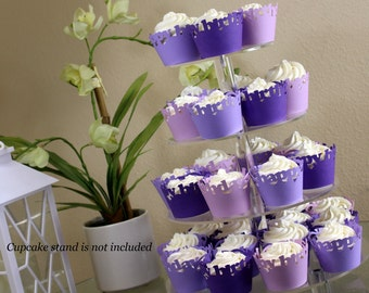 Purple Ombre Happy Birthday Cupcake Wrappers Kit, 32pcs