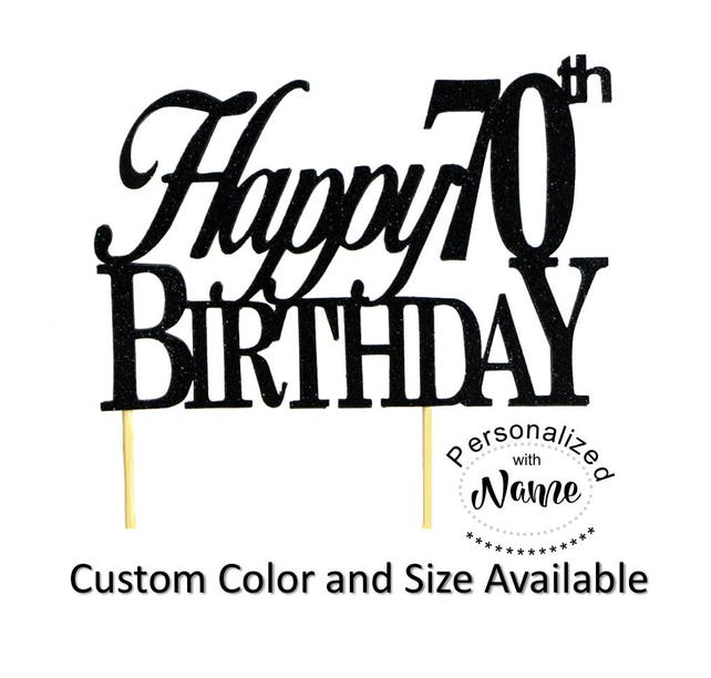 Happy 70th Birthday Cake Topper 1pc Glitter Decoration Custom