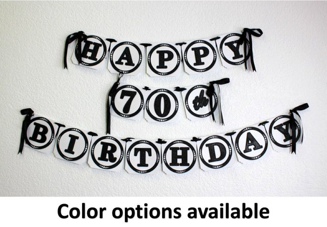 Happy 70th Birthday Banner 1pc Decoration Custom