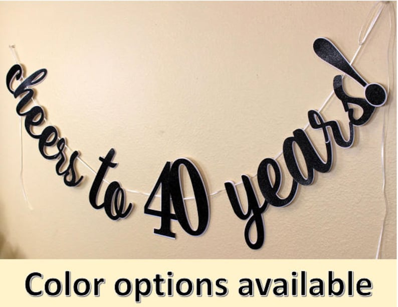 Birthday Special Occasions Banner 1 set Cheers To 40 Years Cursive Banner Glitter Anniversary
