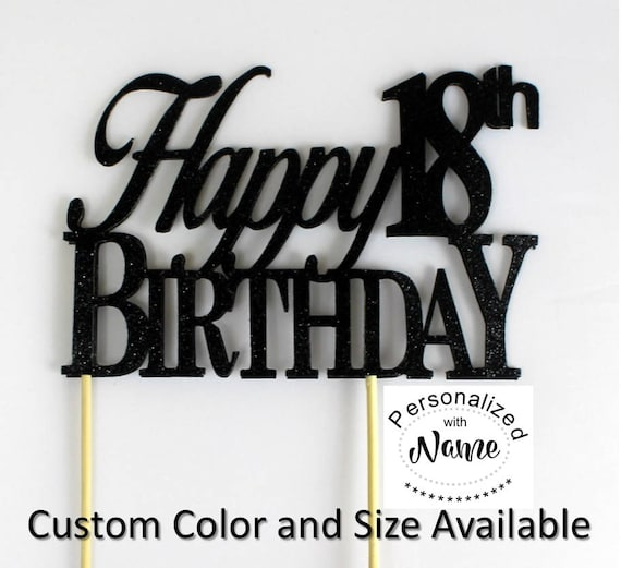 Happy 18th Birthday Cake Topper 1pc Glitter